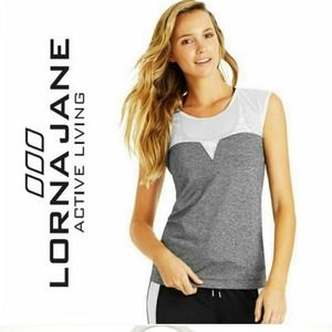 Lorna Jane Active Gray & White Mesh Athletic Top